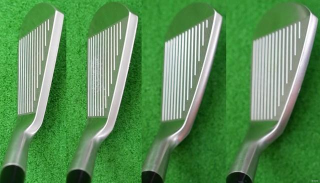 グローブライド オノフ フォージド アイアン KURO マーク金井試打インプレッション 左から6番、7番、8番、9番のヘッド形状。厚いトップブレードはミスショットしても当たり負けしないイメージ