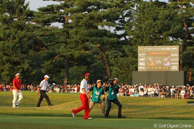 2009年 日本オープンゴルフ選手権競技 最終日 石川遼、小田龍一、今野康晴 プレーオフに向かう3選手、各選手に熱い声援が・・・