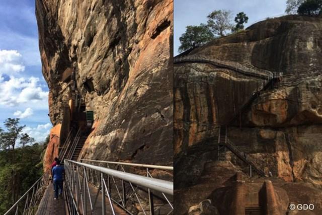 シーギヤ・ロック 高さ約200mの頂上に行くには岩山の周りを階段で登ります。怖かった・・・