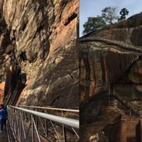 高さ約200mの頂上に行くには岩山の周りを階段で登ります。怖かった・・・ シーギヤ・ロック
