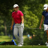 申ジエ(左)はステーシー・ルイスと同組でプレーし、急浮上を遂げた 2017年 KPMG女子PGA選手権 3日目 申ジエ