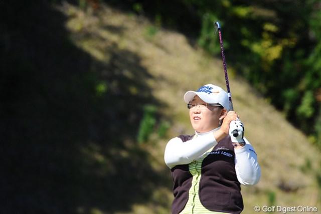 2009年 ハナバンク・コロン選手権 事前 申智愛 日本で勝ち、母国韓国で2週連続優勝を狙う申智愛(写真はマスターズGCレディース初日)