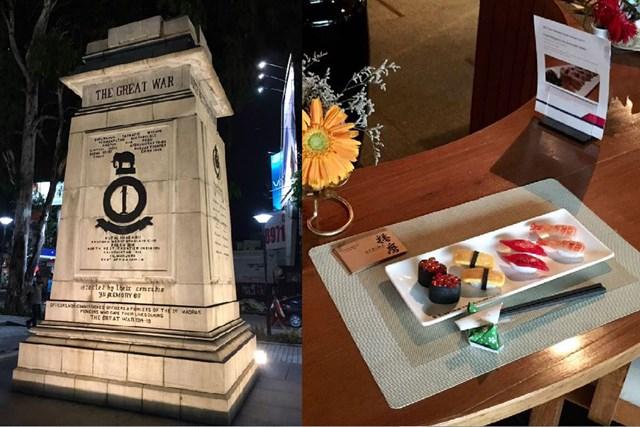 2017年 テイクソリューションズ・マスターズ 事前 バンガロールの街中 左は第1次世界大戦中後に建てられたモニュメント。日本食料理店には食品サンプルがありました