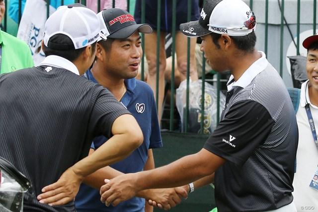2017年 全米プロゴルフ選手権 事前 池田勇太 松山英樹 池田勇太は練習ラウンドを終えた後、鉢合わせた松山英樹と握手。WGC優勝を祝福した