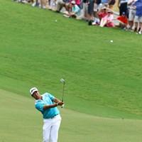 1番、ティーショットは曲げたが、第3打のアプローチをピンそばにピタリと寄せてパーセーブ。先週の最終日を彷彿とさせる 2017年 全米プロゴルフ選手権 2日目 松山英樹