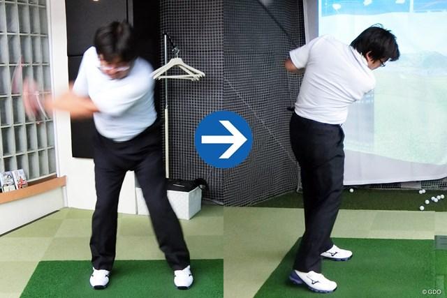 """とにかく飛ばしたい人の""""落とし穴""""って何…? (画像4枚目) 西尾さんのダウンスイング(画像左)、フォロー(右)"""