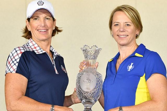 2017年 ソルハイムカップ 事前 ジュリ・インクスターとアニカ・ソレンスタム 世界ゴルフ殿堂入りを果たしているインクスターとソレンスタムの両キャプテン(Stuart Franklin/Getty Images)