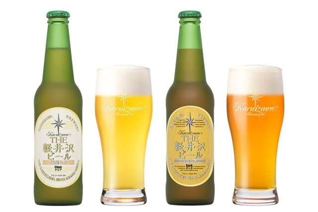 「THE 軽井沢ビール」クリア(左)&ダーク(右)