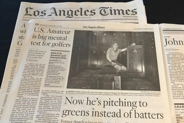 2017年 全米アマチュア選手権 地区予選会 長谷川滋利 地元紙ロサンゼルスタイムスは「彼はいま打者ではなくグリーンに対してピッチングしている」との見出しで長谷川の快挙を報じた(撮影:アンディー和田)