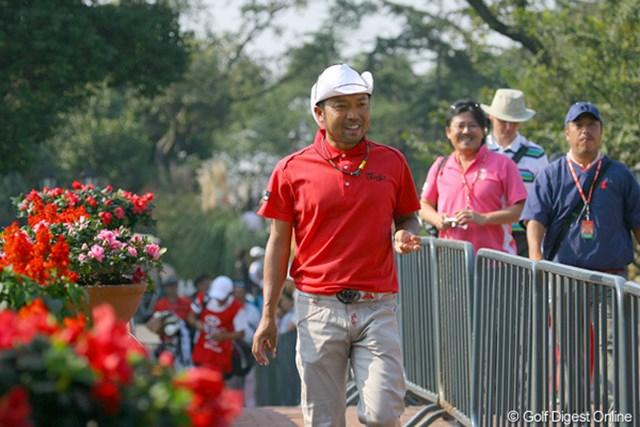 2009年 WGCHSBCチャンピオンズ 初日 片山晋呉 テンガロンは今日だけという片山晋呉だが…