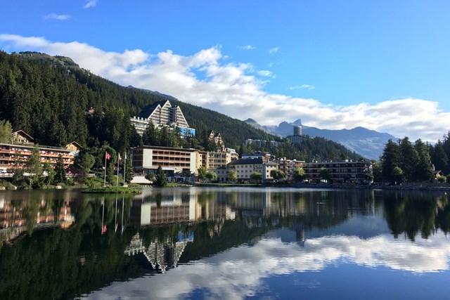 2017年 オメガ・ヨーロピアン・マスターズ 事前 クラン・モンタナ スイスのクラン・モンタナの街並みです。きれいな写真がカンタンに?撮れちゃう