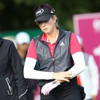 左手首をケガしたポーラ・クリーマー 2017年 エビアン選手権 2日目 ポーラ・クリーマー