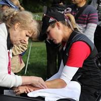 左腕に処置を施す 2017年 エビアン選手権 2日目 ポーラ・クリーマー