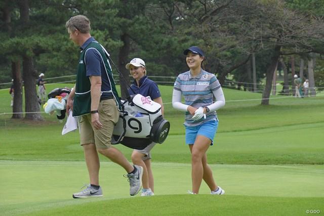 2017年 日本女子オープンゴルフ選手権競技 事前 チョン・インジ 開幕前日、リラックスした表情で練習ラウンドを行ったチョン・インジ