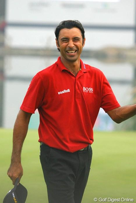 最終ホールでしぶとくパーセーブしたインド人のランダワは、満面の笑み WGC HSBCチャンピオンズ最終日/J.ランダワ