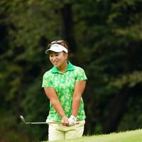 なんと少しトップ目でメッチャ強かったアプローチはピンに当たりそのままイン! 2017年 日本女子オープンゴルフ選手権競技 初日 鬼頭桜