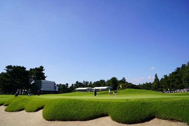 2017年 日本女子オープンゴルフ選手権競技 2日目 18番 今日は朝から快晴じゃ。