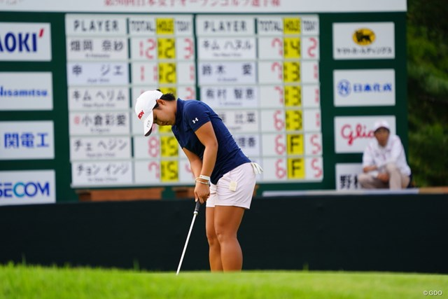 2017年 日本女子オープンゴルフ選手権競技 3日目 畑岡奈紗 後ろのボードの最上位に君臨。