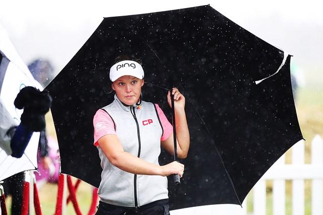 荒天のため勝負は持ち越しに。首位のブルック・ヘンダーソン(Hannah Peters/Getty Images)