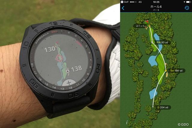 実際のラウンドで「アプローチS60」を使用。レイアップしたい位置の距離がわかるほか、アプリを使えばラウンド中のショット位置と使用クラブを振り返ることができる