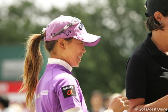 ストレスの溜まる流れも、ラウンド中は笑顔も見えた上田桃子