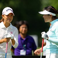 ディフェンディングチャンピオンのチャンナと練習ラウンドを行った上田桃子。再び凱旋優勝となるか 2008年 アクサレディスゴルフトーナメント 事前 上田桃子