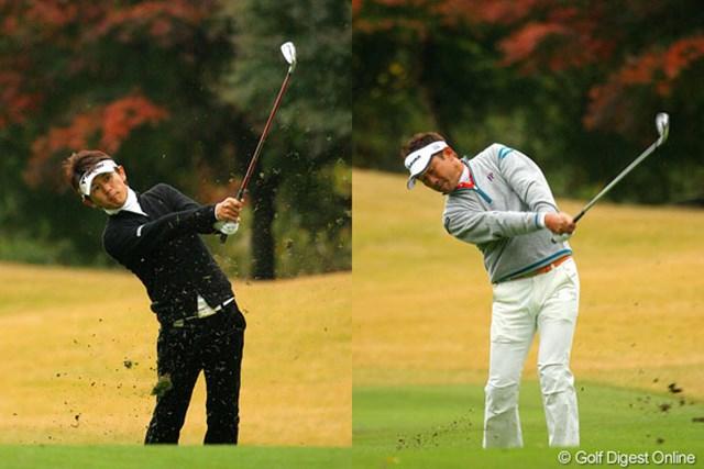 互いに引っ張り合うように首位タイに立った近藤共弘(左)と久保谷健一