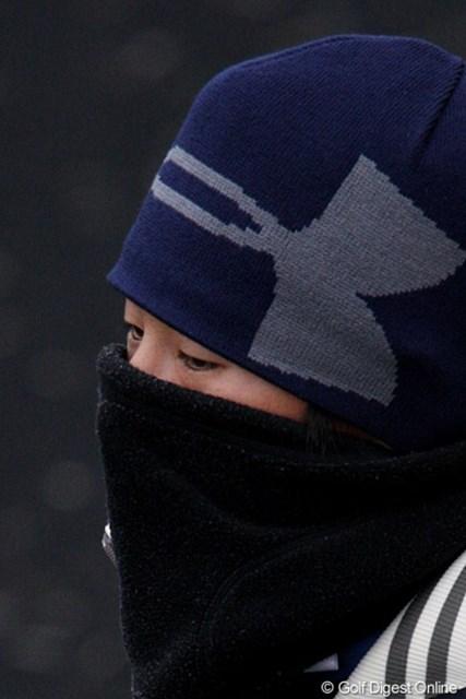 伊藤園レディス初日/上野由岐子 防寒ですか、インフルエンザ予防ですか、あやしいです