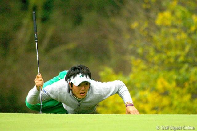 13ホールを消化した時点でサスペンデッドとなった石川遼。明日は23ホールをプレーする