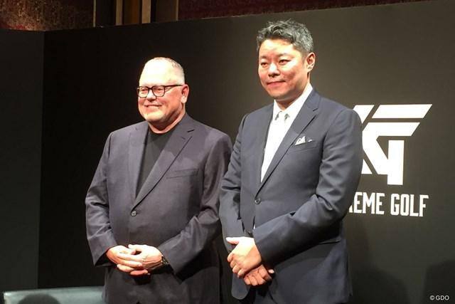 日本でのPXG認知度拡大を図る創業者ボブ・パーソンズ氏(左)とJMC GOLFの武藤拓也社長