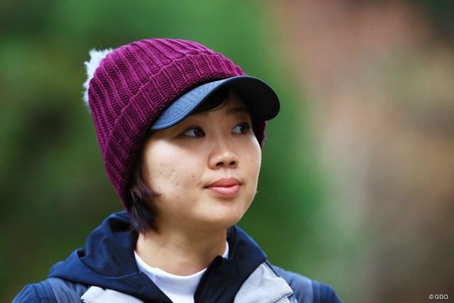 2017年 大王製紙エリエールレディスオープン 初日 葭葉ルミ 毛糸の帽子ちゃんも似合ってる