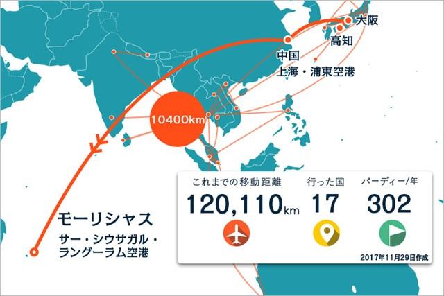 2018年 アフラシアバンク・モーリシャスオープン 事前 川村昌弘マップ アジアを横断、縦断してモーリシャスへ!