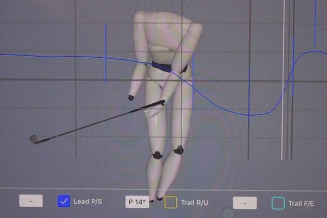 アプローチでも、左腕の回旋が8度ほど戻りきっていない