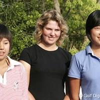活躍が期待される海外招待選手たち。左から、ユヤン・ザン(14歳=中国)、アシュリーサイモン、サラ・オー(17歳=オーストラリア) 2006年 We Love KOBEサントリーレディスオープンゴルフトーナメント 海外招待選手たち