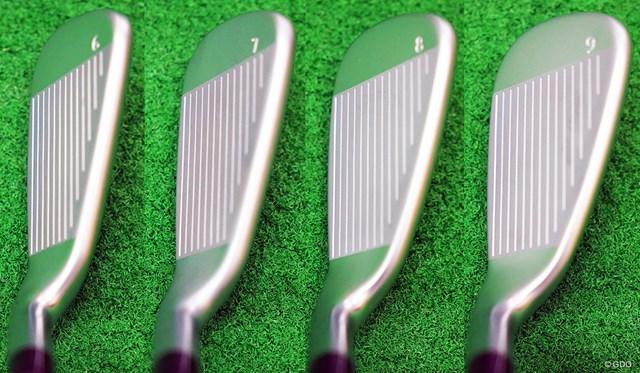左から6番、7番、8番、9番のヘッド形状。適度なグースネックでヘッドが大きくてもつかまりが悪くならない配慮がされている