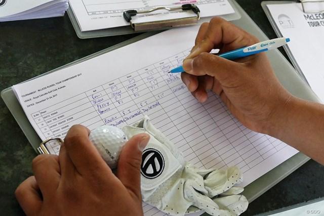 スタート前、出場選手は自身の使用する球やウェアなどのメーカー名を記入することを求められる