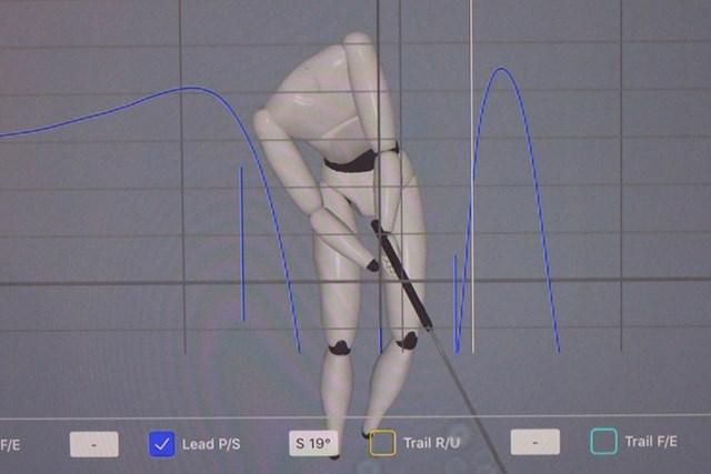 ダウンスイングで左腕が100度ほど戻るが、戻り足りない分は手元でフェース向きを調整している