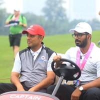 アジア初優勝を目指すキャプテンのアージュン・アトワル(左) 2018年 ユーラシアカップ 2日目 アージュン・アトワル