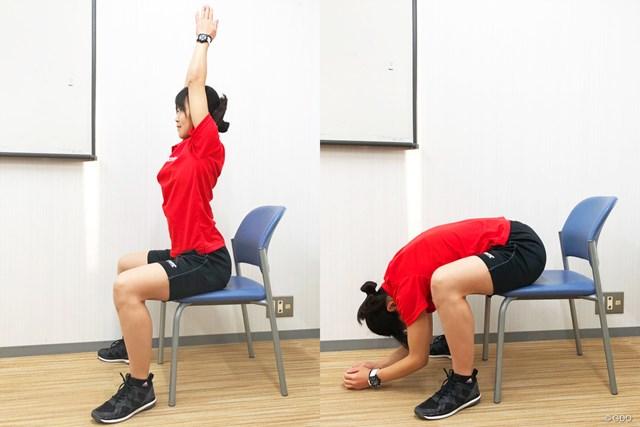 脊柱起立筋の伸びを感じながら、ゆっくり前屈しましょう