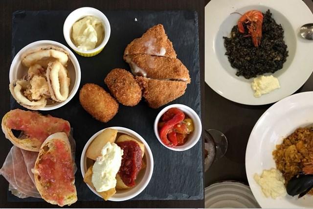 マレーシアでのスペイン料理。左のタパスも最高。中でもオススメが右上のブラックパエリアです