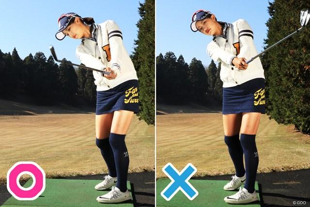 ヘッドの重さを感じて距離感ピッタリ♪ 川崎志穂 ×(画像右)は体が後ろに倒れてしまっている