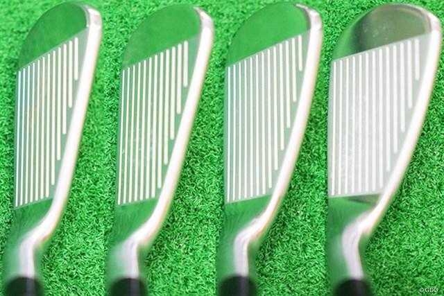 左から6番、7番、8番、9番のヘッド形状。ミドルアイアンはセミグースネック、ショートアイアンはストレートネックと番手によってフローしている