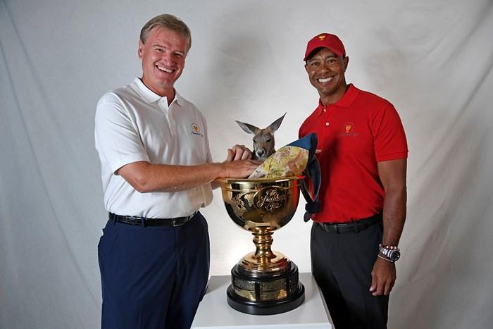 ウッズとエルスのプレジデンツ杯主将就任が正式発表された(Chris Condon/PGA TOUR) 2018年 アーノルド・パーマー招待byマスターカード 事前 アーニー・エルス タイガー・ウッズ