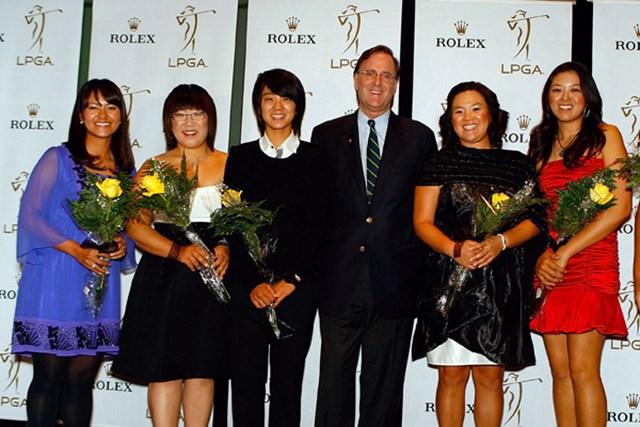 2009年 LPGAツアー選手権 宮里藍 前夜は、大会主催のロレックスが開いたパーティに出席。ファーストウィナーの1人として表彰を受けた(Scott Halleran /Getty Images)