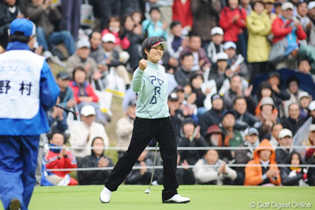 2009年 大王製紙エリエールレディス最終日 野村敏京 最終日最終組で堂々のプレーを見せたアマチュアの野村敏京。将来が楽しみな逸材だ