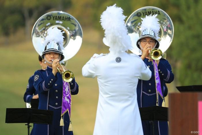 ヤマハらしく音楽隊が表彰式を盛り上げます。 2018年 ヤマハレディースオープン葛城 最終日 表彰式