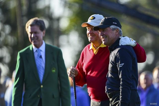 名誉スターターを務めたジャック・ニクラスとゲーリー・プレーヤー。今年もゴルフの祭典が始まった
