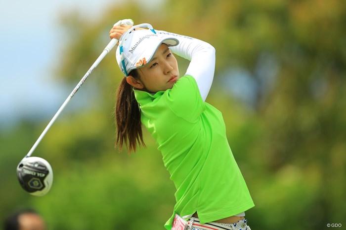 今日は気合入った眼差しでしたねぇ。 2018年 サイバーエージェント レディスゴルフトーナメント 初日 斉藤愛璃