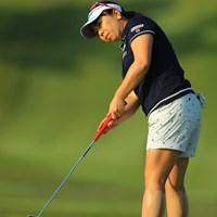 ふくらはぎのテーピングが痛々しいです。2週連続でアップダウン激しいコースですから選手も大変です。 2018年 サイバーエージェント レディスゴルフトーナメント 2日目 吉田弓美子