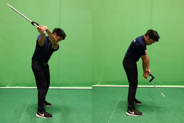 木片グリップを握った左手はおのずと体の内側に巻き込まれることになり、高いトップでクラブを寝かせることができます